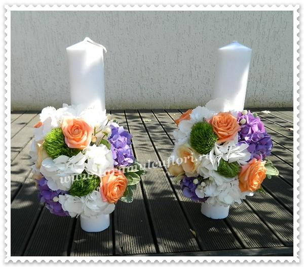 Lumanari nunta scurte,trandafiri,green trick,hortensie.0375